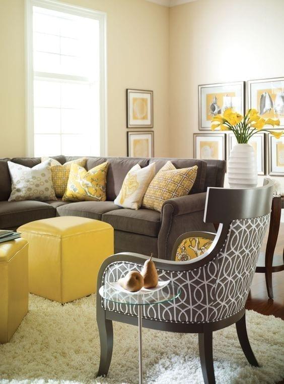 ideas de salas amarillas y gris