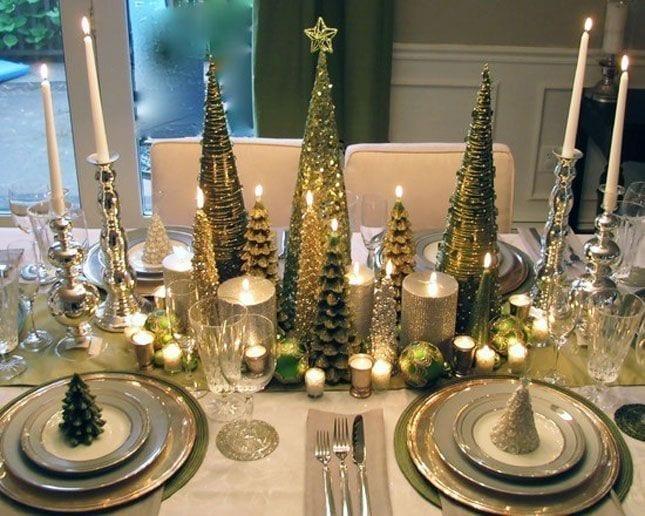velas para decorar la mesa en Navidad