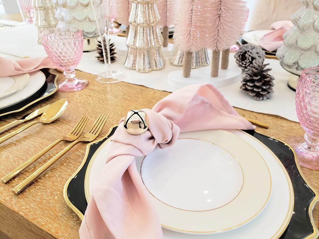 mesas navideñas color de rosa